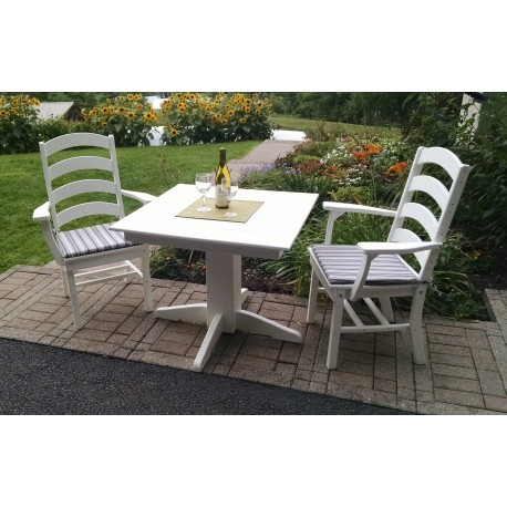 """Poly Lumber Wood Patio Set- 33"""" Square Table and 2 Ladderback Arm Chairs - Amish"""