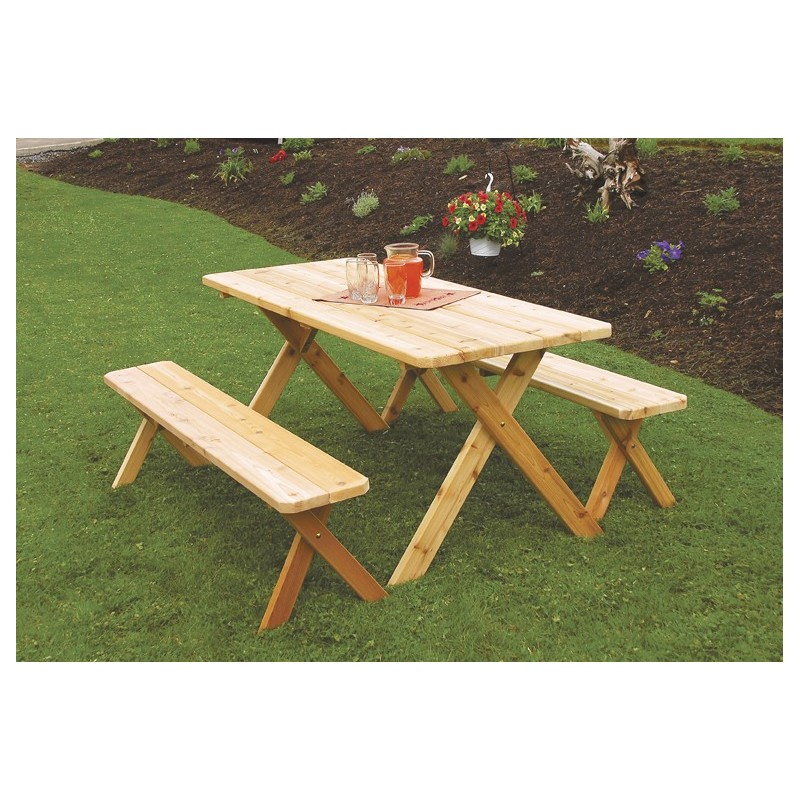 5u0027 Crossleg Table With 2 Benches ...