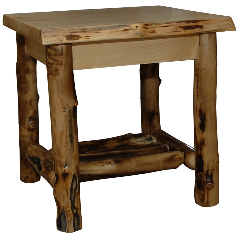 Log Side Table ~ Rustic aspen log end table