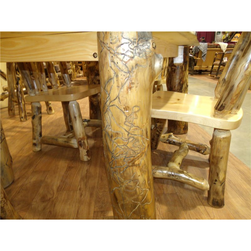 Log Kitchen Table: Rustic Aspen Log Dining Table In Various Sizes