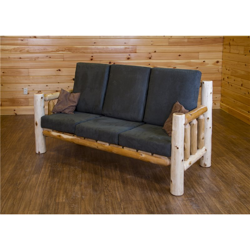 log home living room furniture rustic cabin white cedar set sofa chair coffee table coat rack