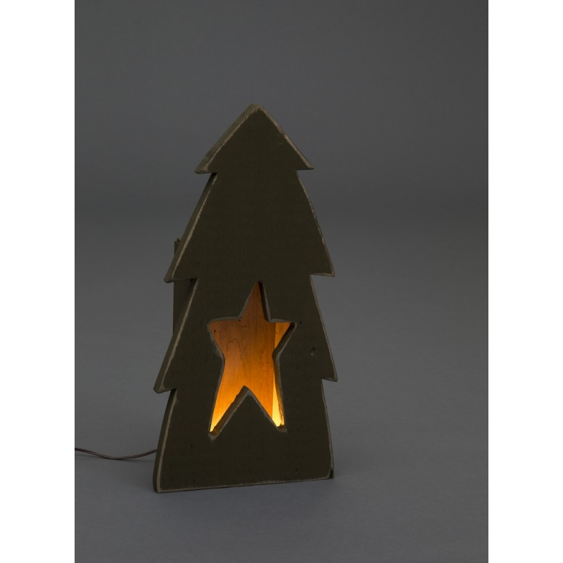Wooden christmas tree with star cutout luminary for Wooden christmas cutouts