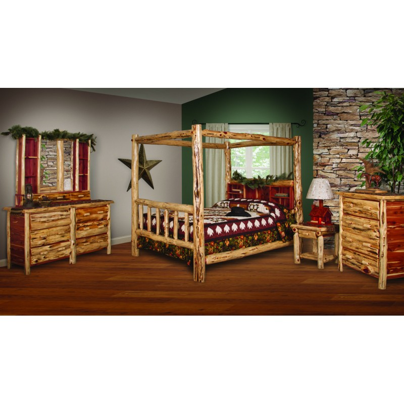 ... RUSTIC RED CEDAR LOG BED - KING SIZE CANOPY BED ...  sc 1 st  Furniture Barn USA & Log Canopy Bed Set - 5 Piece Set