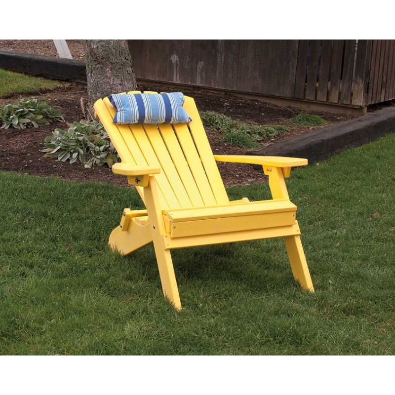 ... Polywood Folding Adirondack Chair   Yellow (Reclined) ...