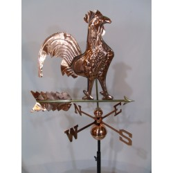 Outdoor Copper Rooster Weathervane - Polished Finish