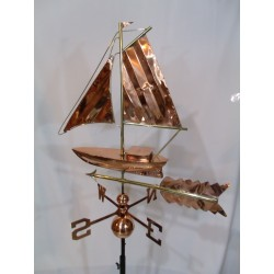 Outdoor Copper Boat Sloop Weathervane - Polished Finish