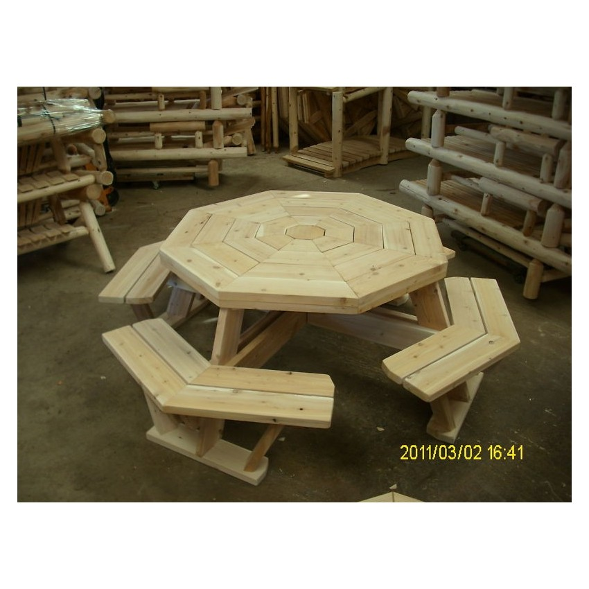 White cedar octagon walk in picnic table for Rustic picnic table plans