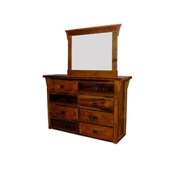8 Drawer Dresser pictured with Mirror Frame and Mirror - Urban Distress Stain