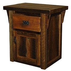 Rustic Natural Reclaimed Barn Wood 1-Door & 1-Drawer Nightstand/End Table