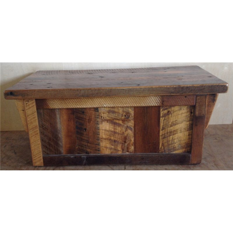 rustic natural reclaimed barn wood blanket chest clear coat