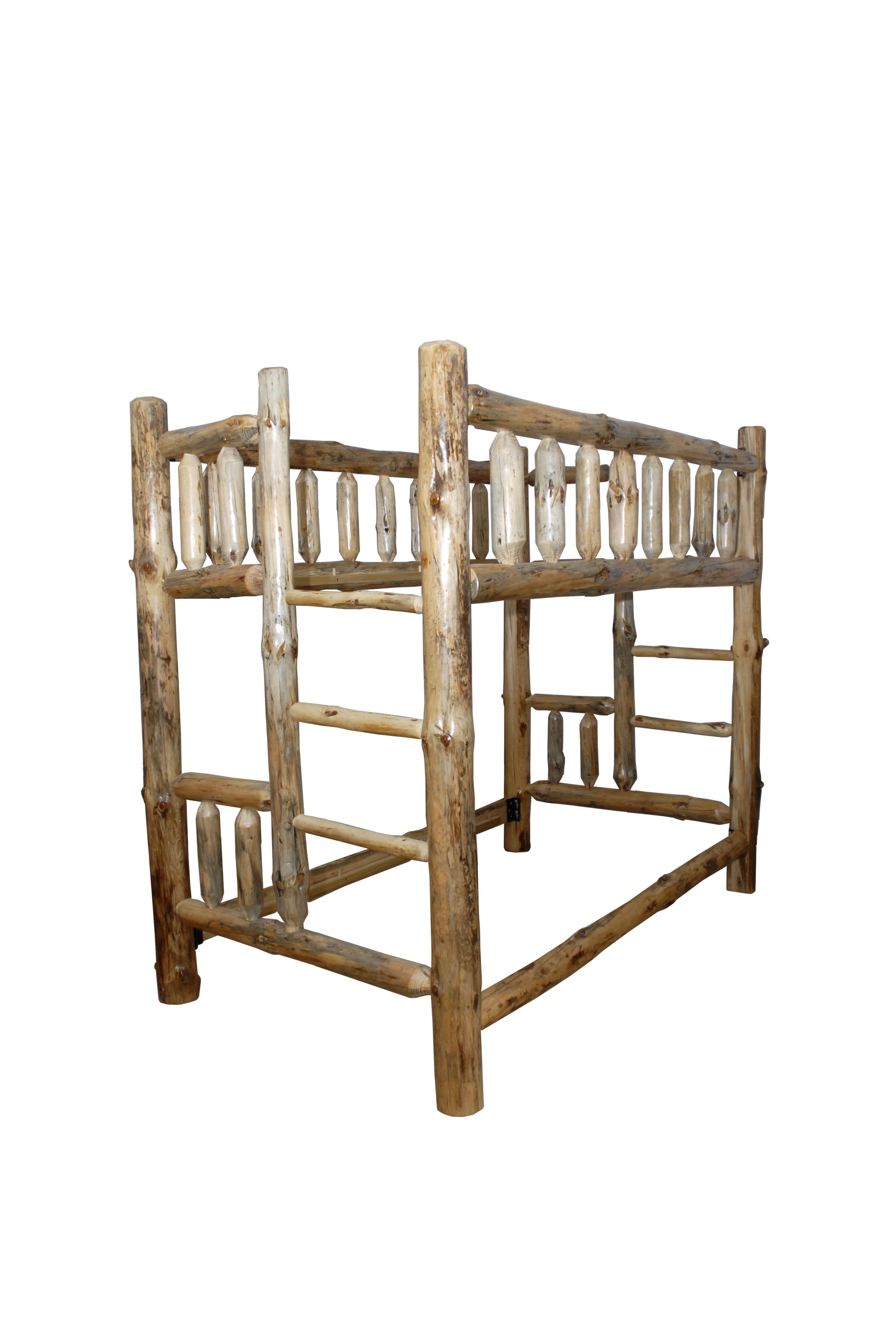 Rustic Pine Log Bunk Bed