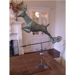 Outdoor Oversized Copper 3D JUMPING DEER - Patina Finish