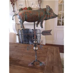 Outdoor Copper FULL BODY PIG Weathervane - Patina Finish