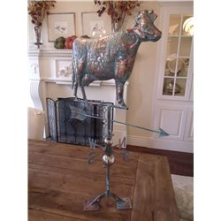 Oversized Outdoor Copper Full Body 3D COW Weathervane - Patina Finish