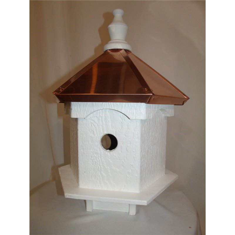 6 Hole Vinyl Bird House With Polished Copper Roof   30 Inches TALL ...