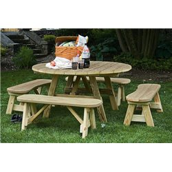 """54"""" Round Pressure Treated Pine Picnic Table with 4 Curved Detached Benches - Unfinished, Painted, or Stained"""