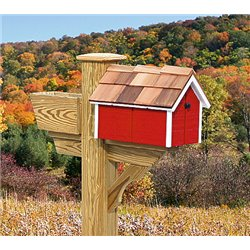 Pressure Treated Pine Red with White Trim Painted Mailbox - Amish Made