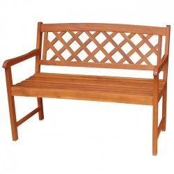 Solid Acacia 4' Cross Back Pattern Garden Bench - Natural Oiled