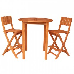 Solid Acacia Round Bar Table + 2 Folding Bar Stools - 2 pc. set - Natural Oiled