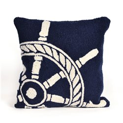 Nautical Red Anchor Pillow with Navy Stripe