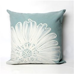 Whie Antique Medallion Flower on Aqua