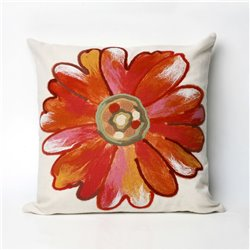 Red / Orange Water Color Daisy on Cream