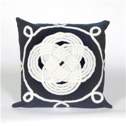 White Nautical Ornamental Knot on Navy Blue