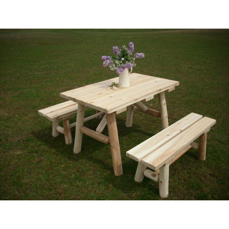 White Cedar Log Picnic Table With Detached Bench 4ft.