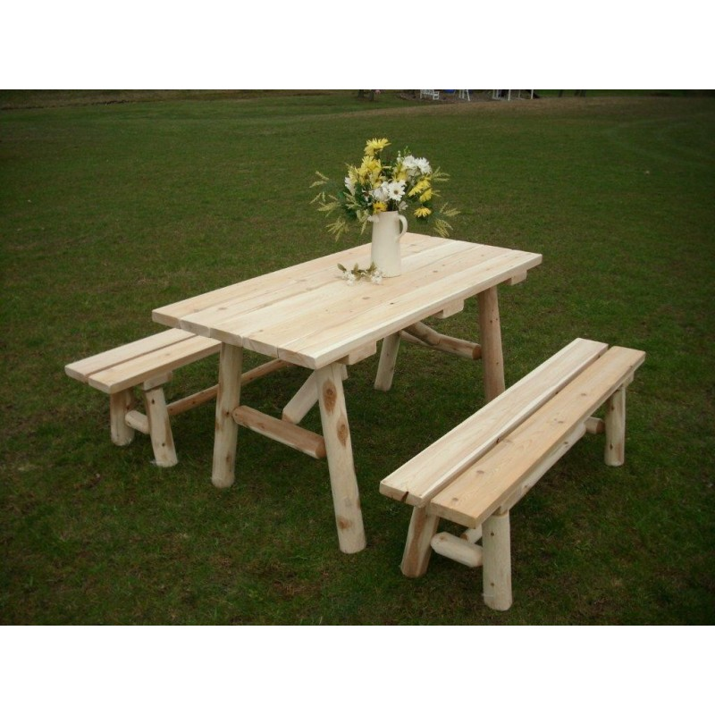 White Cedar Log Picnic Table With Detached Bench 5ft.