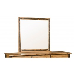 Square Bedroom Mirror - Rustic Hickory Log Trim
