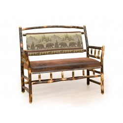 Rustic Hickory Deacon Bench - Faux Brown Leather Seat & Upholstered Back