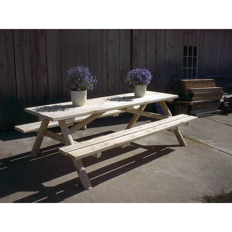 White Cedar Log Picnic Table Attached Benches