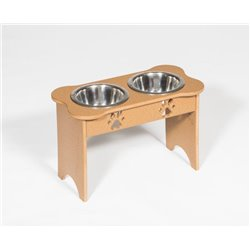 Poly Lumber Wood - Tall Double Dog Bone Dish - 2 Quart