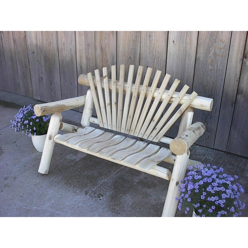 White Cedar Log Rustic Park Bench 4 5 6 7 Ft Furniturebarusa