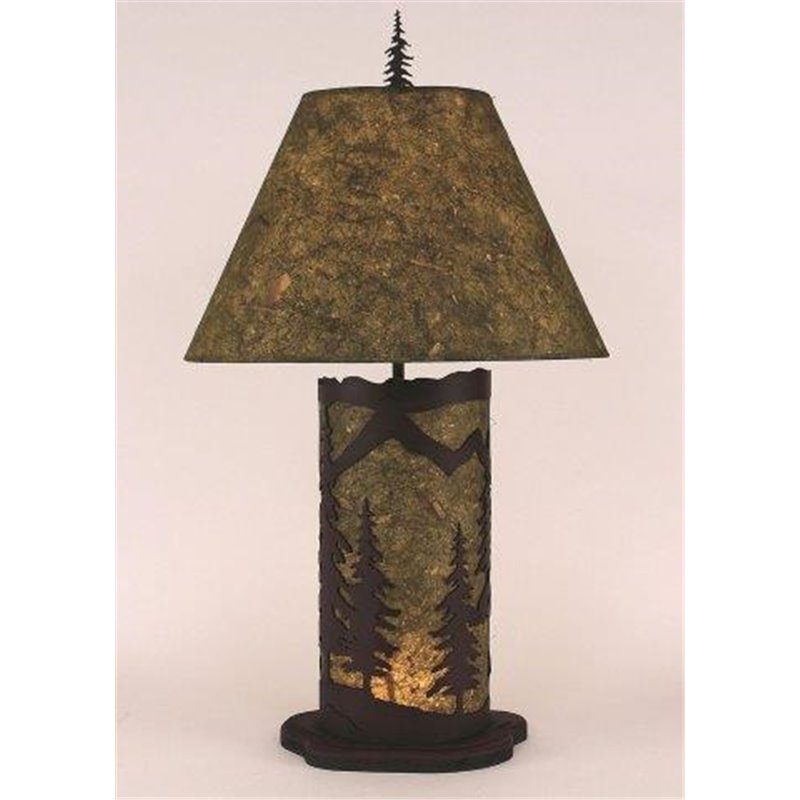 Small table lamp with metal parchment shade small mountain scene panel with night light table lamp aloadofball Choice Image
