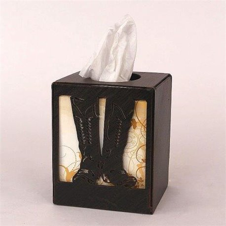 Wrought Iron CowBoy Boots Collection - Square Tissue Box Cover