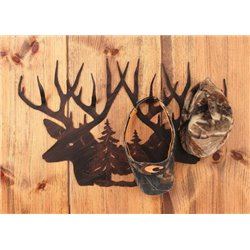 Wrought Iron Deer Collection - Deer Head Scene Hat Rack