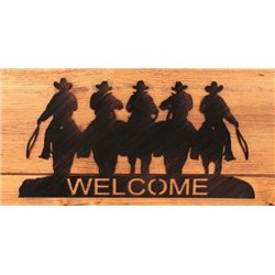 Wrought Iron Wall Mounted Cowboy Welcome Sign
