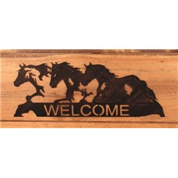 Wrought Iron Wall Mounted Horse Welcome Sign