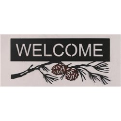 Wrought Iron Pine Cone Collection - Mounted Pine Cone & Branch Welcome Sign