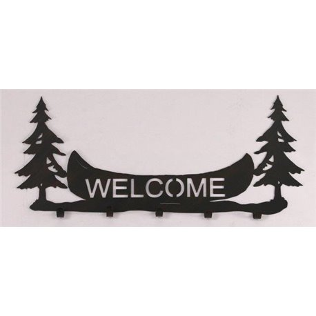 Wrought Iron Pine Tree / Canoe Collection - Wall Mounted Welcome Sign with Coat Hooks