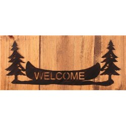 Wrought Iron Pine Trees / Canoe Collection - Mounted Pine Trees & Canoe Welcome Sign