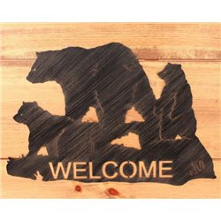 Wrought Iron Bear Family Collection - Mounted Welcome Sign