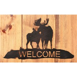 Wrought Iron Elk Collection - Mounted Welcome Sign