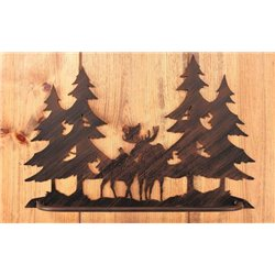 Wrought Iron Moose Collection - Wall Mounted Moose Family Scene Towel Bar