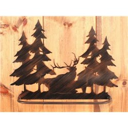 Wrought Iron Elk Collection - Wall Mounted Elk Family Scene Towel Bar