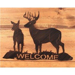 Wrought Iron Deer Collection - Buck & Doe Mounted Welcome Sign