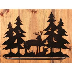 Wrought Iron Deer Collection - Wall Mounted Buck & Doe Scene Towel Bar