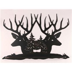 Wrought Iron Deer Collection - Wall Mounted Buck Head Sillouette Scene Towel Bar