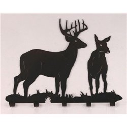 Wrought Iron Deer Collection - Buck and Doe Wall Mounted Coat Hooks